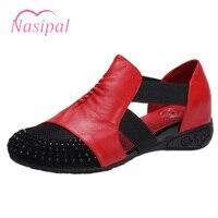 Nasipal Comfortable Senior Leather Fabrics Women Flat Shoes Size 34 41 Black Red Gladiator Ethnic Height