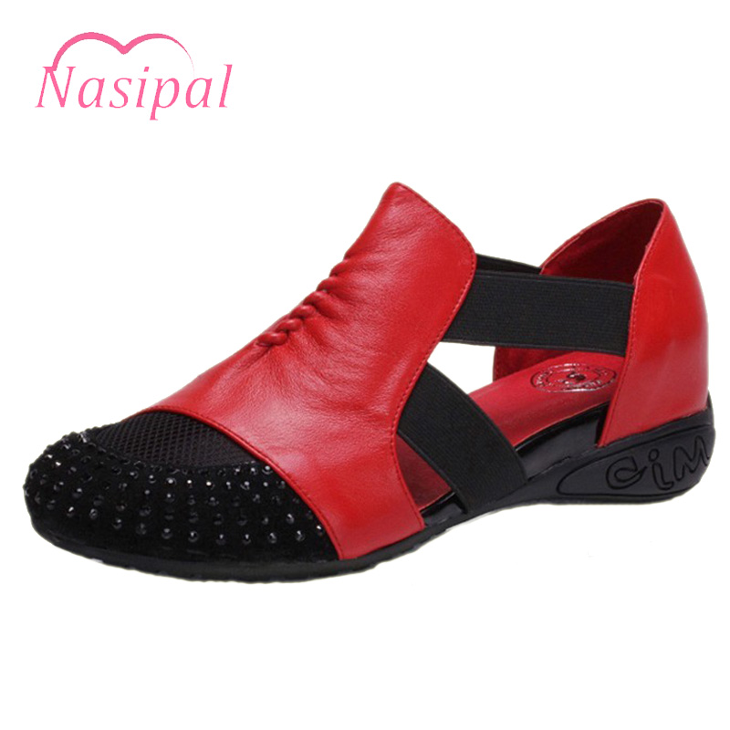 Nasipal Comfortable Senior Leather Fabrics Women Flat Shoes Size 34-41 Black Red Gladiator Ethnic Height Wedges Sandalias C260 sgesvier comfortable senior leather fabrics simple and easy red green and four color yellow women flat shoes size 34 41 xt21