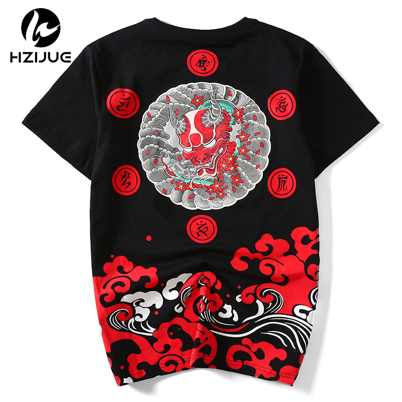 HZIJUE Summer Fashion Men T Shirt Little Devil Print Cotton Hip Hop Baseball Jersey T-shirt Men Size M-4XL