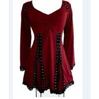 Zmvkgsoa 2018 Spring Women Blouse Plus Size 5xl Casual Long Sleeve Lace Up Bandage Gothic Blouses