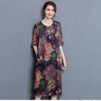 Frauen Silk Rayon Kleid 2018 Sommer Neue Oansatz Halbe Sleev Qualität Print Floral Vintage Frauen Kleidung Lose Lange Kleider AC443