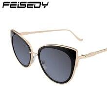 FEISEDY Fashion Cat Eye Sunglasses Women Brand Designer Retro Metal Mirror Lens Sun Glasses For Women Alloy Legs Gafas Oculos