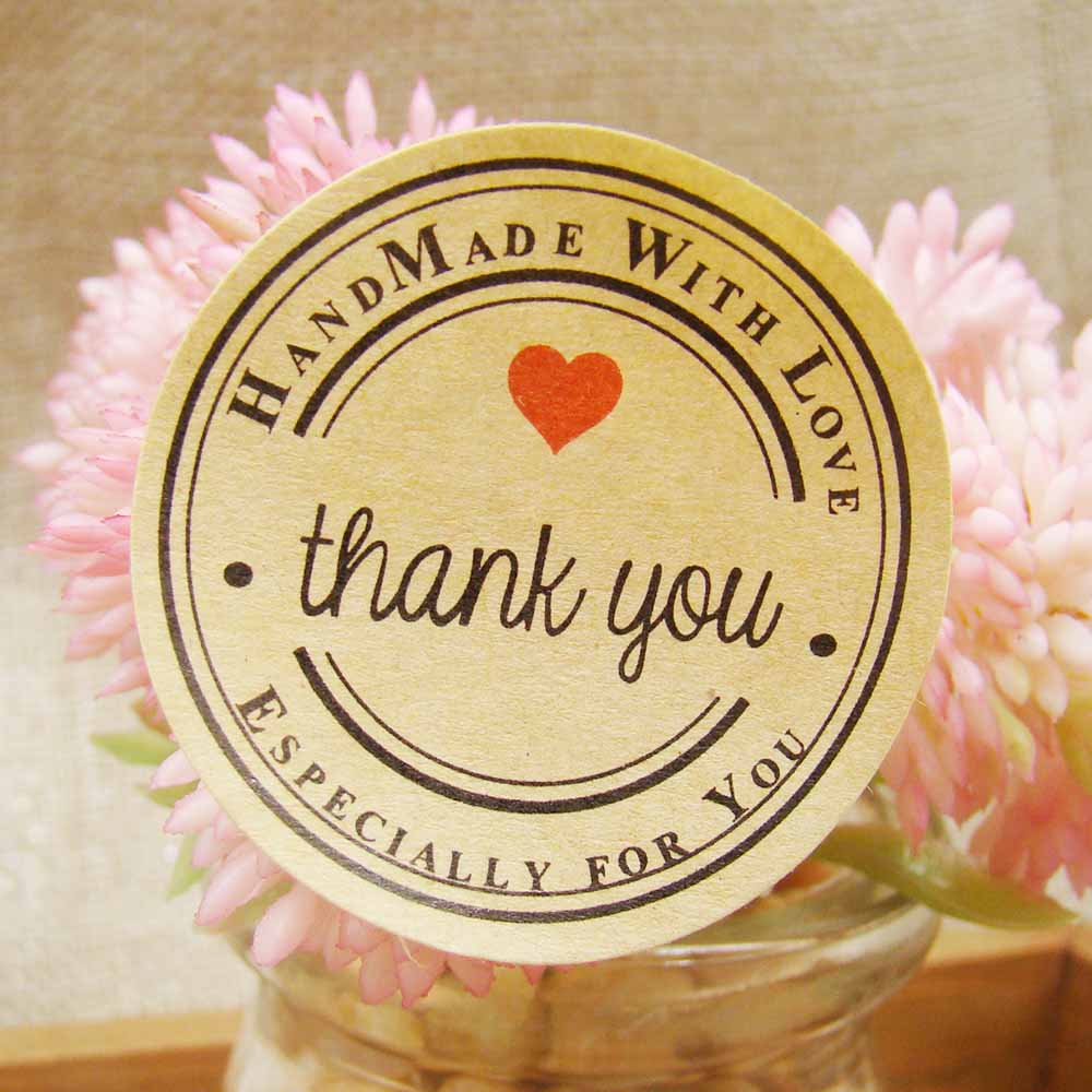 144pcs/lot Thank You Love Self-adhesive Stickers Kraft Label Sticker Diam 3.5CM For DIY Hand Made Gift /Cake /Candy Paper Tags