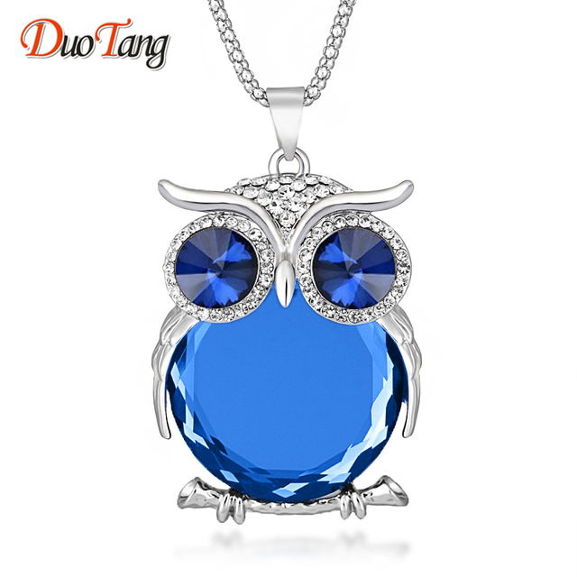DuoTang High Quality Vintage Owl Pendant Necklaces Zinc Alloy Crystal  Trendy Jewelry Long Popcorn Chain Necklace 1e9762cefe8e
