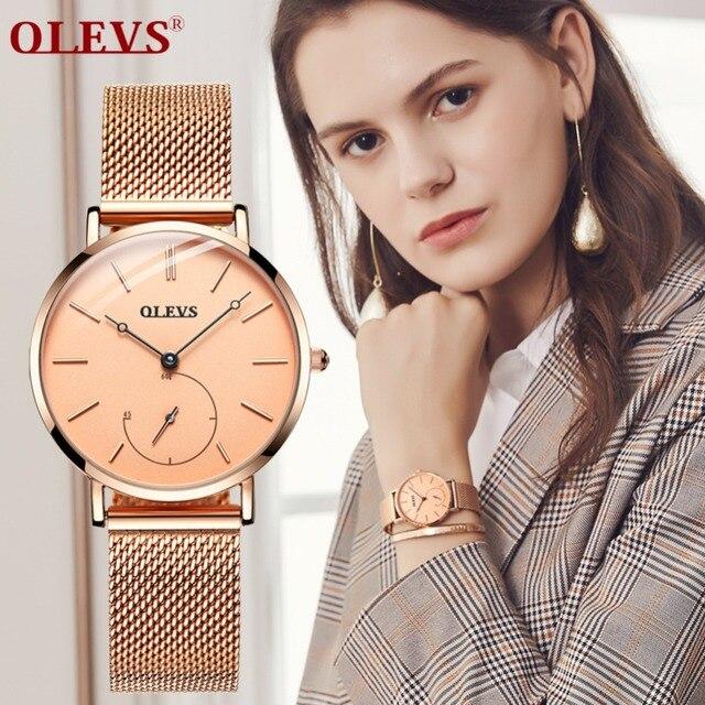 Neue Mode Frauen Uhr Rose Gold Mesh Einzigartige Einfache Uhren Casual Quarz Armbanduhren für mädchen Uhr Heißer Verkauf Horloges vrouwe