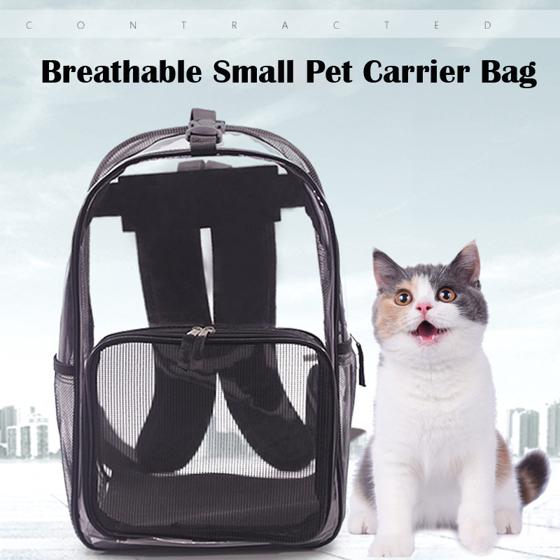 Black Beautiful Breathable Portable Small Pet Carrier Bag Outdoor Travel Puppy Cat Bag Transparent Space Pet Backpack Capsule