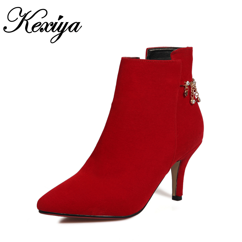 Big size 32-44 women short boots sexy Pointed Toe red wedding high heels Fashion suede Chains decoration ladies Ankle boots