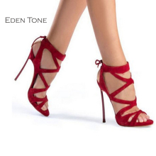 EDEN TONE Sexy Super High Heel Peep-toe Women's Sandals Cross-strap Platform Woman Shoes