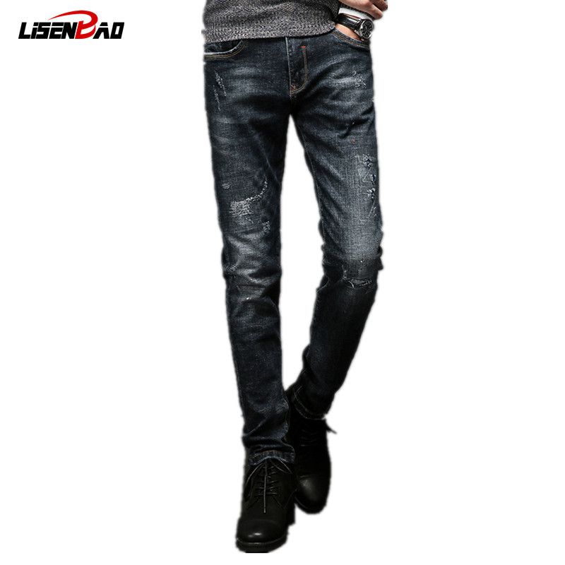 LiSENBAO 2017 new fashion Spring autumn mens jeans slim cotton elastic pants ripped jeans for men brand denim trousers HZ256