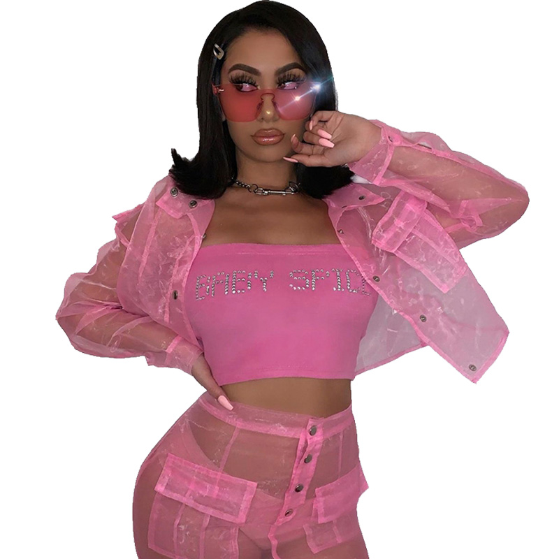 Sexy Two Piece Skirt Set Women Festival Clothing Sheer Mesh Crop Top And High Waist Skirts Set Autumn Women Matching Sets Outfit