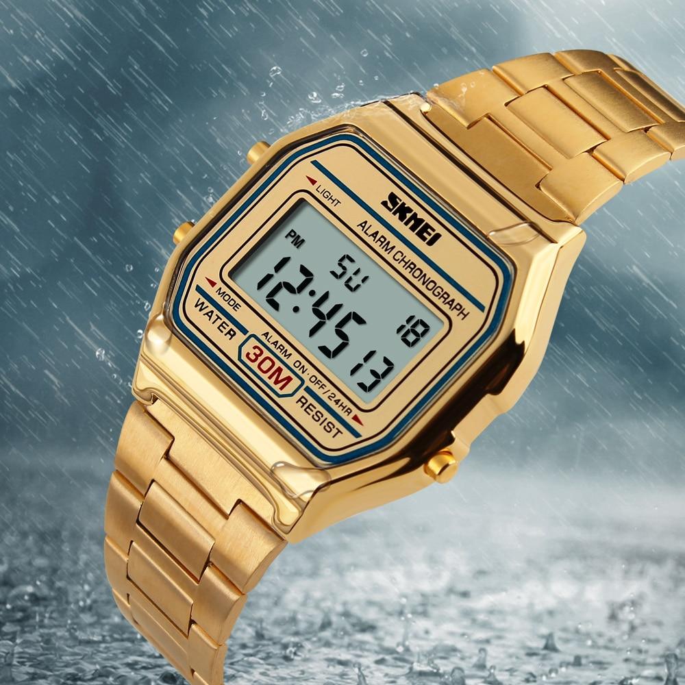 Marca de Luxo Relógios de Pulso Skmei Homens Relógio Digital Masculino Relojes Moda Aço Inoxidável Militar Esportes Led