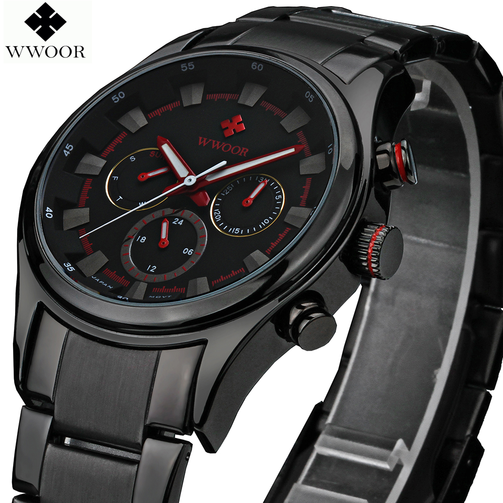 WWOOR Luxury Brand Day Date 24 Hours Clock Quartz Watch Men Sports Watches Male Black Steel Strap Military Wristwatch Waterproof 2017 luxury brand binger date genuine steel strap waterproof casual quartz watches men sports wrist watch male luminous clock