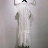 Белое длинное платье для женщин Элегантное летнее с круглым вырезом женское кружевное платье с коротким рукавом женское 2019 Высокое качеств