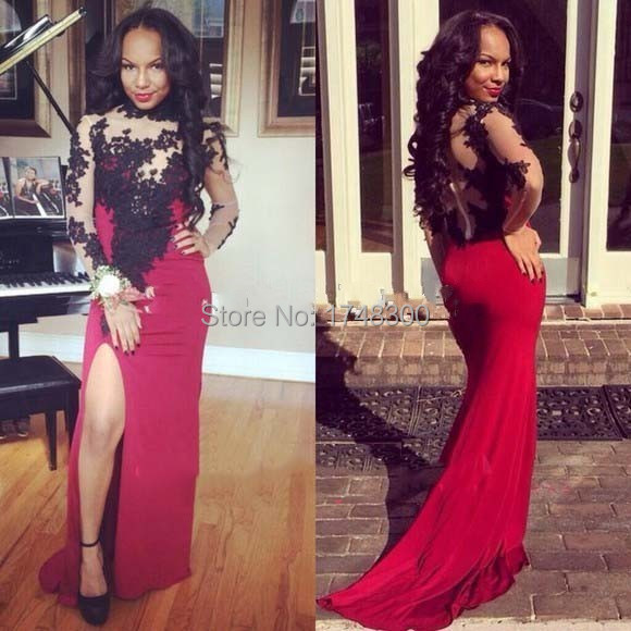 Top Selling Under 100 Cheap Sexy high neckline side slit black lace red  chiffon long sleeve prom dress Elegant Evening Dresses 35c860551