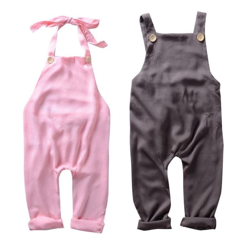 New Summer Unisex Baby Overalls Clothes Backless Chiffon Casual Halter Jumpsuit Pants For Boys Girls Harem Pants Kids Clothes surplice self tie halter jumpsuit