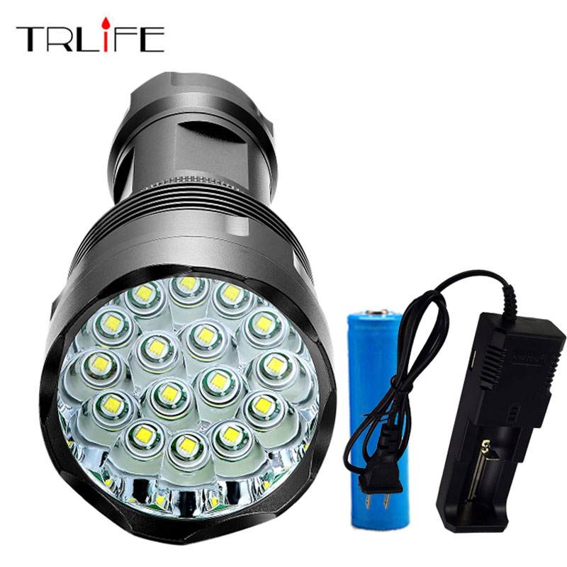 High Power 48000LM Flashlight CREE 16T6 LED Outdoor Lighting 5 Modes Waterproof Torch Lanterna Hunting with 18650 and Charger ml 143 cree r5 300 lumens waterproof led flashlight 3 modes aaa 18650 outdoor hiking hunting caving camping led torch lanterna