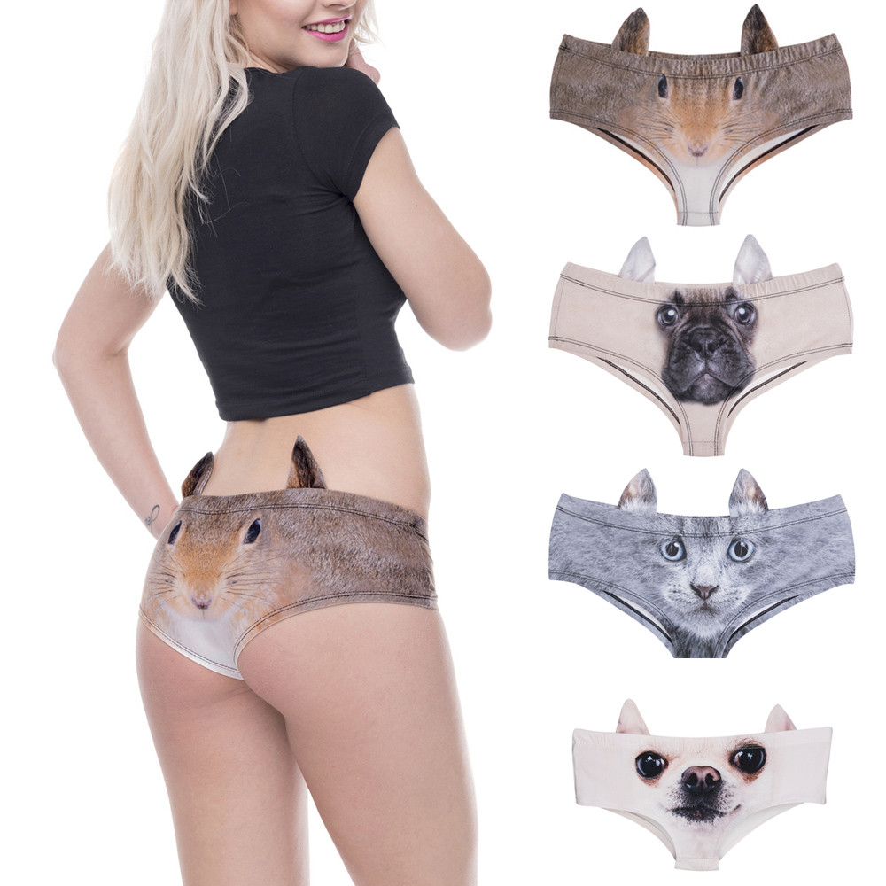 3D Printed cartoon animal Femme Sexy Underwear Cat Dog Print Women Calcinha Feminina With Ears Cute Panties briefs thong #555