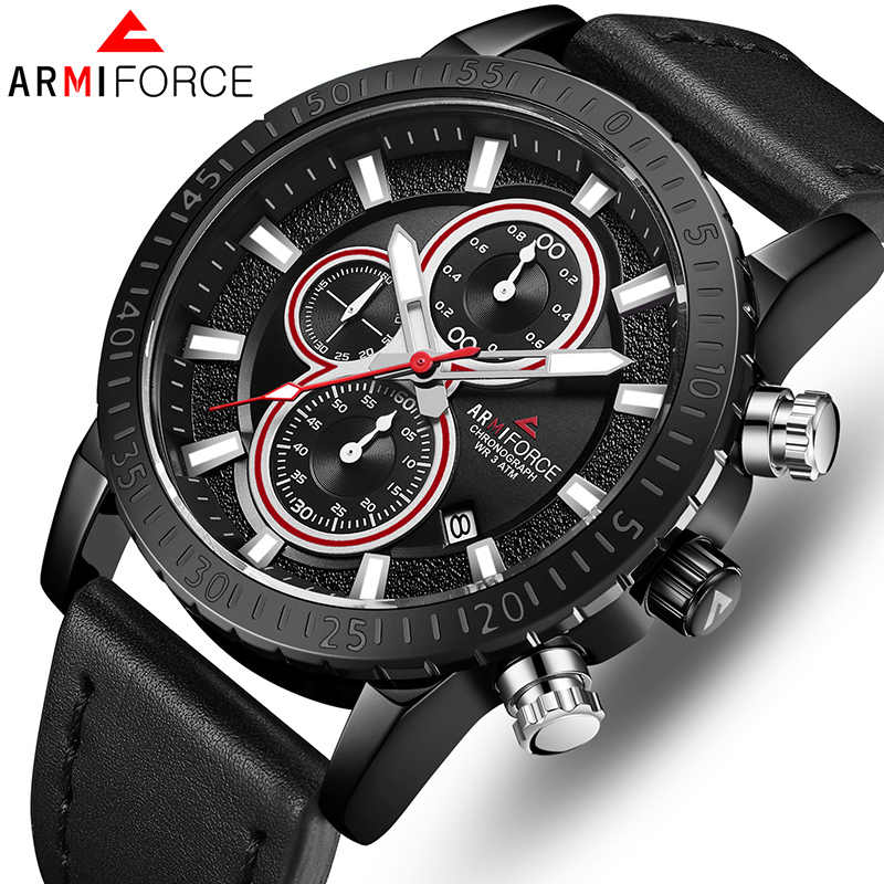 ARMIFORCE TOP Brand Luxury Men Watches Quartz Mens Leather Watches Business Men's WristWatch Sports Date Clock Relogio Masculino