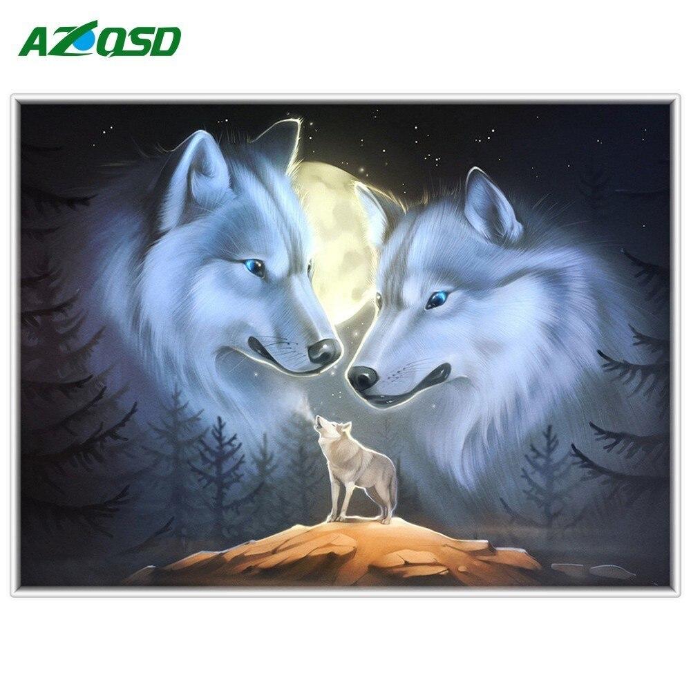 AZQSD 5D DIY Diamond Painting Wolf Picture of Rhinestones Wall Art Diamond Mosaic Animal Home Decor Factory Direct