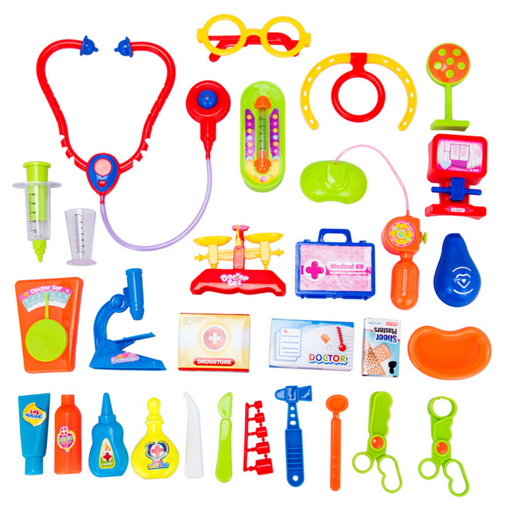 2017 Baby funny games 30pcs Kids Baby Doctor Medical Play Carry Set Case Education Role Toy Kit Imitation medicine cabinet ov20 ...