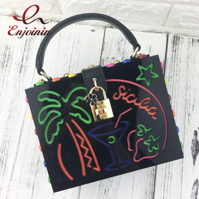 Black acrylic fashion letter coconut tree rivet box style ladies casual shoulder bag handbag party purse crossbody messenger bag party box black