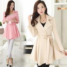 купить B Elegant Ruffle Turn Down Collar Trench Coat Women Sash High Waist Autumn Winter Long Sleeve Skirt Coat Female онлайн
