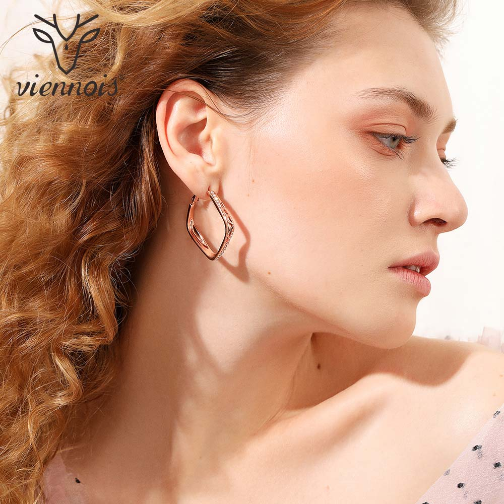 Viennois Rose Gold Color Rhinestone Square Hoop Earrings for Women Hollow Large Earrings Trendy Female Party Jewelry