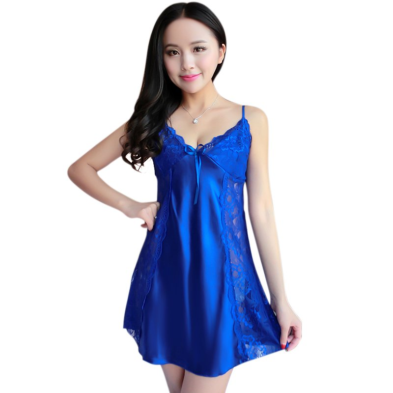 New Summer Sexy Women Spaghetti Strap Lingerie Sleepwear Women Nightdress Lace Nightwear Hem Sleepwear Dresses CY1