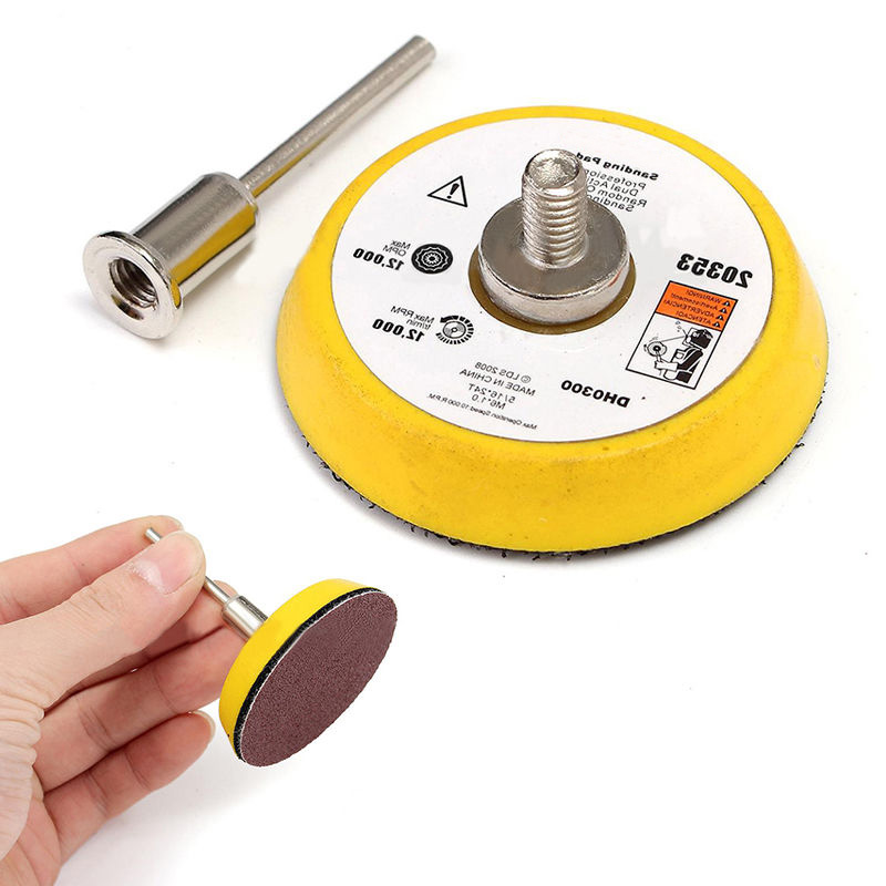 цена на 60pcs 2'' Sand Paper Disc + 50mm 1/4 Hook & Loop Sanding Sander Backing Pad