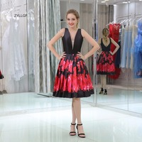ZYLLGF Custom Prom Dress A Line V Neck Gowns For Proms Short Floral Homecoming Dresses Cheap Graduation Gown Party Dress SL44