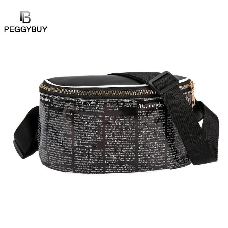 Newspaper Print Shoulder Bag Women Waist Pack Newspaper Print Sport Waist Handbags Women Fanny Belt Packs Small Chest Bag