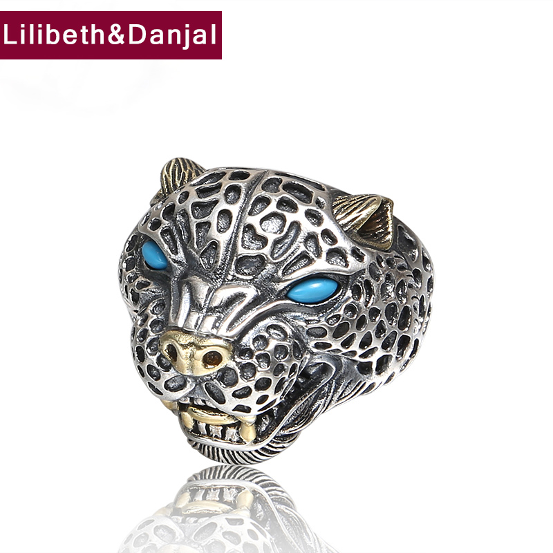 Men Opening Finger Ring 925 Sterling Silver Jewelry Inlaid Turquoise Leopard Adjustable Ring Fine Jewelry 2018