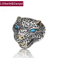 Men Opening Finger Ring 925 Sterling Silver Jewelry Inlaid Turquoise Leopard Adjustable Ring Fine Jewelry 2018 FR72