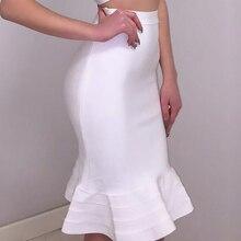 BEAUKEY Модная белая облегающая юбка «рыбий хвост» с высокой талией, юбка-труба русалки, XL