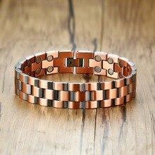 Vinterly magnetyczna bransoletka z miedzi mężczyźni Vintage Wrist Band bransoletka magnetyczna mężczyźni łańcuch ręczny zdrowie energia szeroka bransoletka dla mężczyzn
