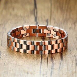 Image 1 - Vinterly magnetyczna bransoletka z miedzi mężczyźni Vintage Wrist Band bransoletka magnetyczna mężczyźni łańcuch ręczny zdrowie energia szeroka bransoletka dla mężczyzn