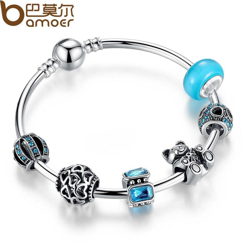 Bamoer Antike Silber Charme Armband & Armreif Mit Liebe Und Blume Perlen Frauen Hochzeit Schmuck 4 Farben 18 Cm 20 Cm 21 Cm Pa1455 Bettelarmbänder