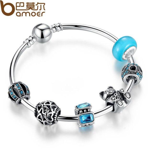 BAMOER Silver Charm Bangle with Bear Animal & Open Your Heart Charm Bracelet Blue Glass Friendship Bracelet PA3069
