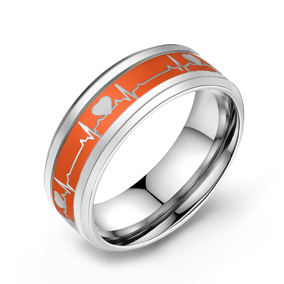 Stainless Steel Glow in the Dark Wave Love Ring