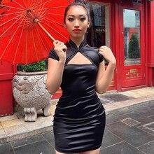 Summer Stain Bodycon Dress Gothic Black Vintage Dress Women