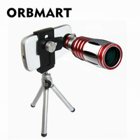 ORBMART Универсальный Регулируемый зажим 50X Оптический зум Алюминий телескопа + мини штатив для iPhone 6 6 S 7 7 Plus samsung Xiaomi
