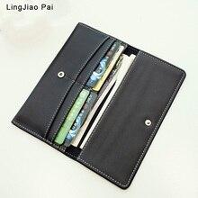 LingJiao Pai Genuine Leather Women Wallet Long thin Purse Cowhide multiple Cards Holder Clutch bag Fashion Standard Wallet