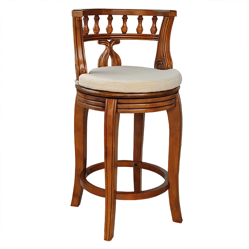 European style solid wood bar chair American high bar chair  solid wood cushion plate rotating bar stool
