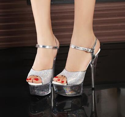 2017 New Nightclub Sexy Stage Show Shoes 15cm High-heeled Sandals Silver Sequins Wedding Shoes Plus Size 34-43 sexy temptation to 18 centimeters nightclub high heeled shoes catwalk show reception appeal colourful shoes dance shoes
