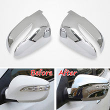 BBQ@FUKA ABS Car Side Door Rear View Mirror Cover Decoration Trim Auto Silver Styling Sticker For Hyundai Tucson IX35 2010-2015
