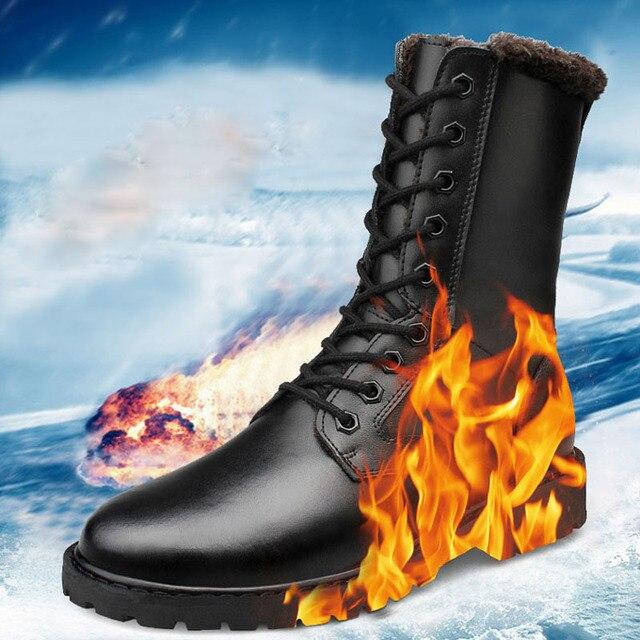 BOXINIDI 2016 Холодная Зима Пур Военные Сапоги, Повседневная Горячая Согреться Снег Плюшевые Черные Армейские Ботинки Человек Плюс размер 7-12