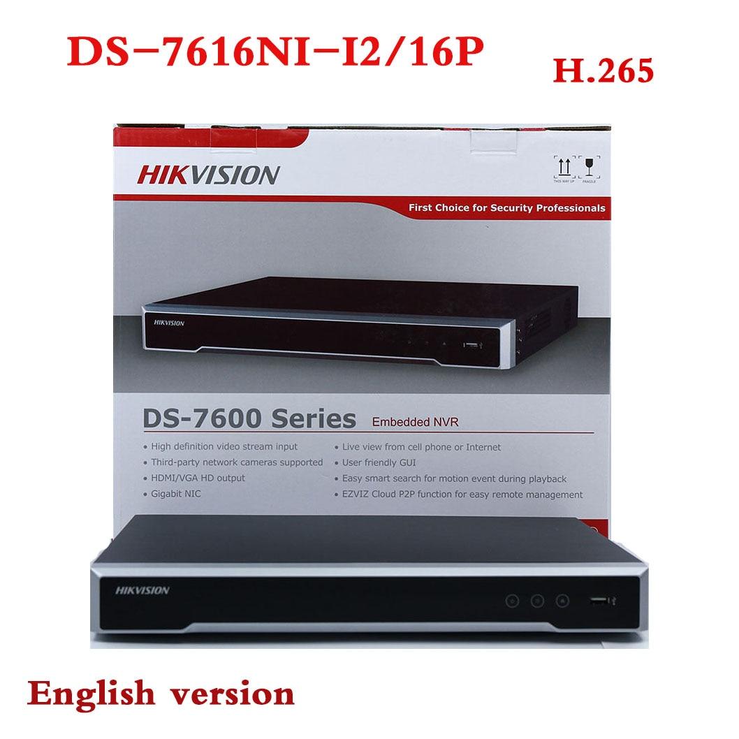 In stock DS-7616NI-I2/16P English version 16ch NVR with 2SATA and 16 POE ports, HDMI VGA plug & play NVR POE 16ch VCA H.265 шампунь brelil professional numero illuminating shampoo with precious oil