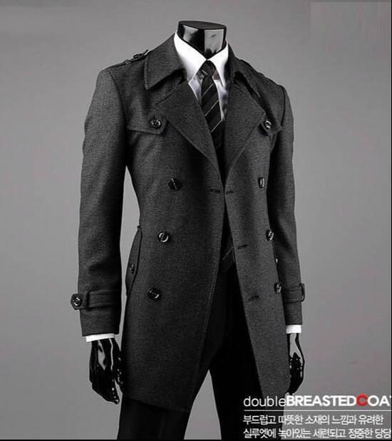 350c216eee8d2 2019 gris adolescente chaqueta abrigo largo de lana los hombres de alta  calidad de trench chaquetas