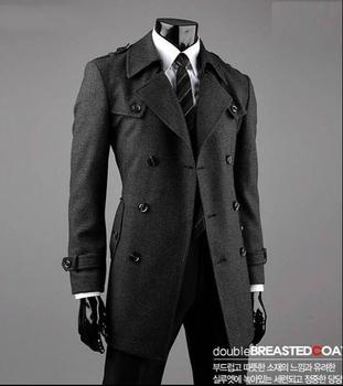 2016 grey teenage Double-breasted long wool coat men high quality trench jackets mens wool coats overcoats dress winter S – 9XL