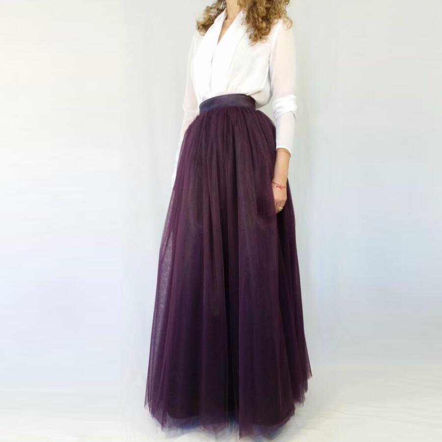 Dark Purple floor Length Tulle Skirt Custom Made Nature Waistline A Line Floor Length Maxi Skirt Classical Long Tutu Skirts Wome